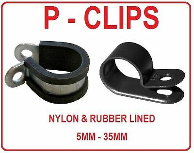 PLASTIC or RUBBER LINED P CLIPS CLAMPS MOUNTS HOSE FUEL PIPE AIR LINE 5 - 35MM