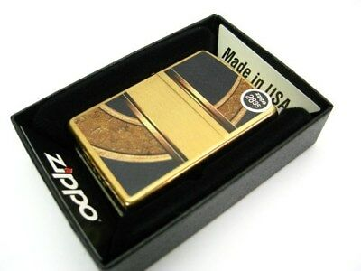 ZIPPO Brushed BRASS Gold & Black CIRCLE Design Classic Windproof Lighter! 28673