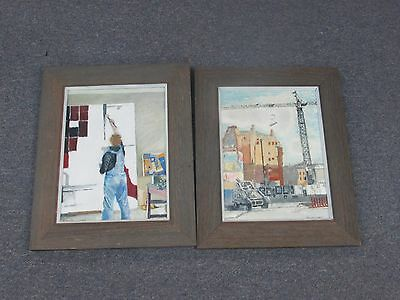 """Set of 2 Oil on Board Painting Signed G.H. Leonard 13"""" x 16"""" - 8"""" x 11"""""""
