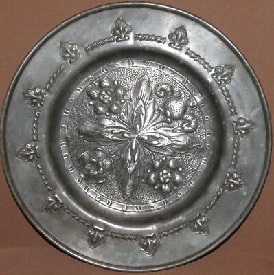 Antique art deco floral relief silverplated wall hanging plate