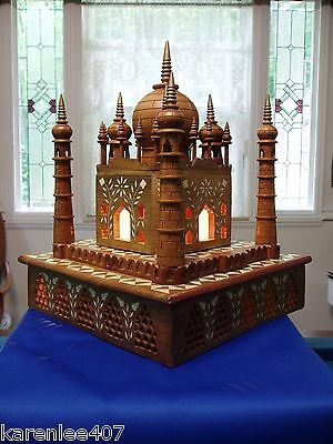 TAJ MAHAL CASTLES OF THE WORLD COLLECTION Lights-Up  WOOD with INLAY BONE