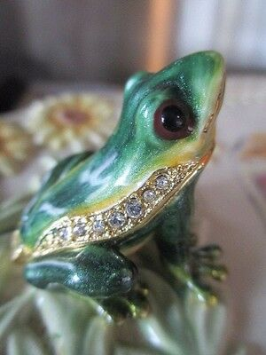 Polly ~ Baby Frog  ~ Jeweled & Enamel Trinket Box ~ Boutique Miniature 61136