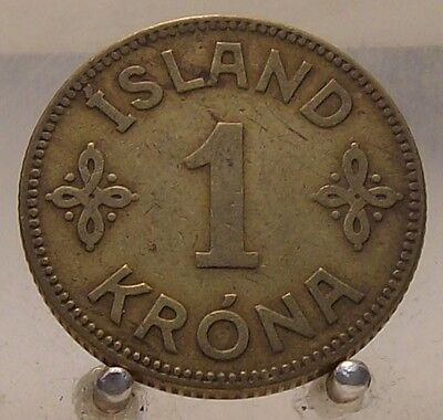 1929 Iceland Aluminum-Bronze 1 Krona, World Coin, Old Coin, 3 Year Type