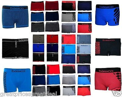 6 12 Men's Seamless Athletic Compression Boxer Briefs Lot NEW Underwear One Size