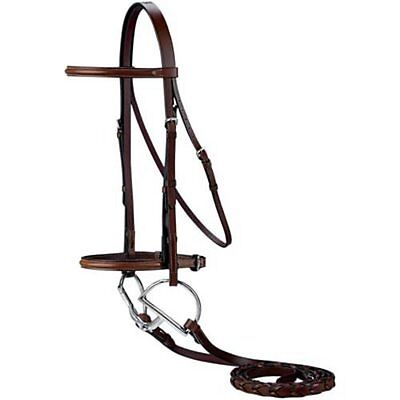 English Saddle Full Horse Size Raised Dark Brown Leather Bridle With Laced Reins