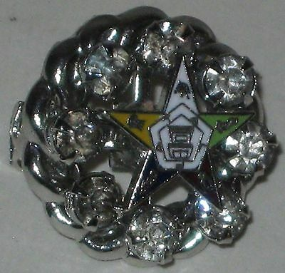 """1950's Order of the Eastern Star Jeweled Brooch 3/4"""""""
