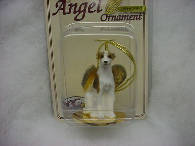 WHIPPET Brindle White dog ANGEL Ornament Resin Figurine Statue Christmas puppy