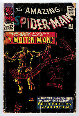 Amazing Spider-Man #28 1.0 1St Molten Man Off-White Pages Silver Age