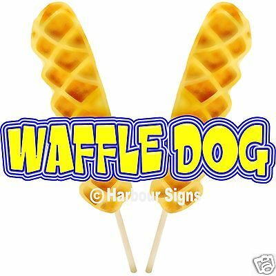 "Waffle Dog Decal 14"" Concession Hot Dogs Cart Food Truck Menu Sign Sticker"