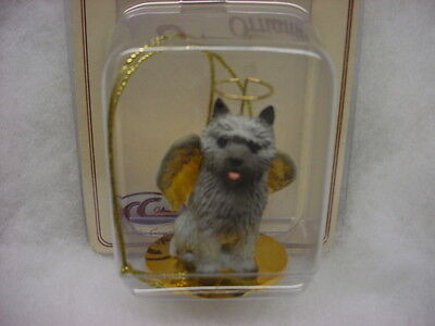 CAIRN TERRIER gray dog ANGEL Ornament HANDPAINTED resin Figurine Christmas puppy