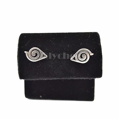 HOT Anime Naruto Gaara Symbol Earrings Silver Ear Stud Unisex Cosplay Jewelry