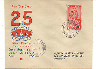 Dominica Fdc 1948 Silver Wedding Low Value..mahout Cancel