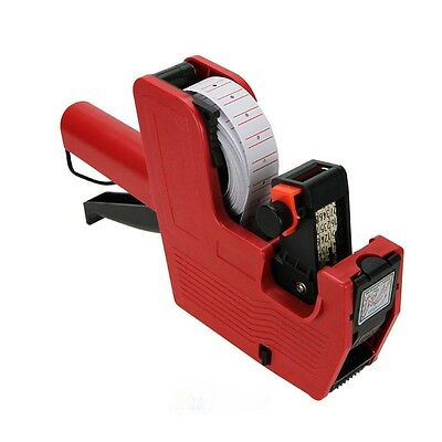 MX-5500 8 Digits Price Tag Gun + 500 White w/ Red lines labels + ink Red