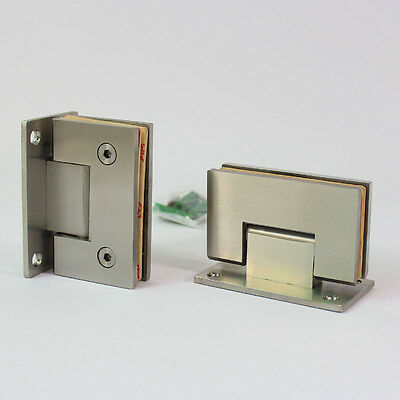 "pair of shower room glass door hinge wall to glass frameless 3/8"" satin nickel"