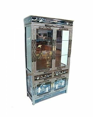 Black Lacquered With Mother Of Pearl Wall Display Cabinet Oriental Furniture