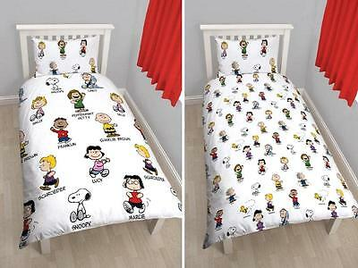 Peanuts 'Snoopy' Reversible Single Duvet Cover Bed Set Charlie Brown New Gift