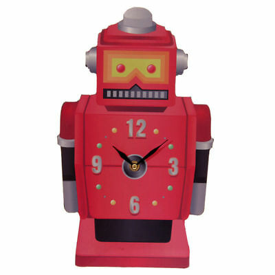 NEW TED SMITH RED RETRO ROBOT DESIGN SHAPED PICTURE WALL CLOCK 35cm CKP69