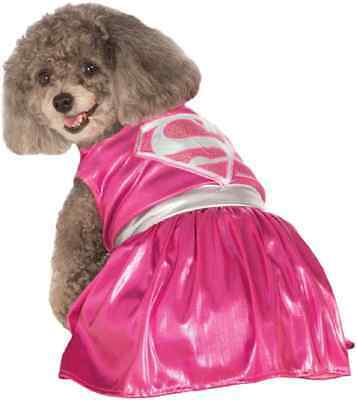 Pink Supergirl DC Comics Superhero Fancy Dress Up Halloween Pet Dog Cat Costume