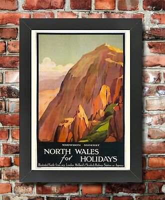 TX173 Vintage North Wales Snowdon Railway Framed Travel Tourism Poster A3/A4