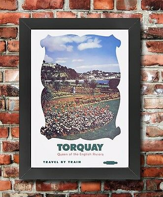 TX170 Vintage Torquay English Railway Framed Travel Tourism Poster Reprint A3/A4