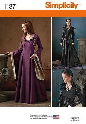 SIMPLICITY SEWING PATTERN Misses' Medieval Fantasy Costumes 6 - 22 1137