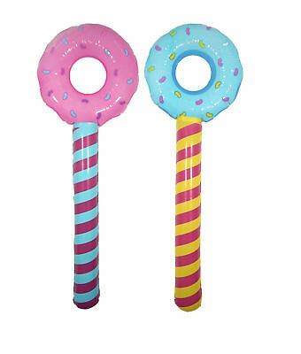 NEW INFLATABLE DOUGHNUT DONUT STICKS  92cm PINK, BLUE OR SET OF TWO HB