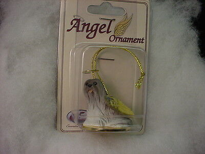 LHASA APSO gray dog ANGEL Ornament Resin Figurine NEW Christmas Holiday puppy