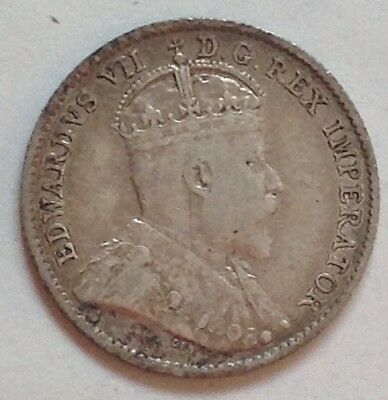 1910 Canada Silver 5 Cent Coin Canadian Five Cents Nickel