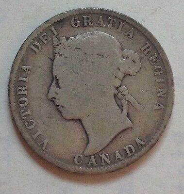 1888 Canada Silver 25 Cent Coin Canadian Twenty-Five Cents Quarter