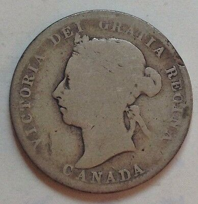 1892 Canada Silver 25 Cent Coin Canadian Twenty-Five Cents Quarter