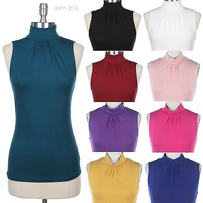 FashionOutfit Women/'s Solid Stretch Ribbed Sleeveless Mock Neck Knit Top