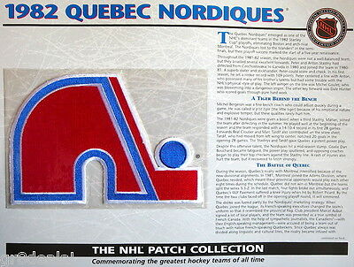 1982 QUEBEC NORDIQUES Willabee & Ward NHL THROWBACK HOCKEY TEAM PATCH Stat Card
