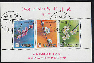 Stamps 1988 Taiwan flowers mini sheet Scott 2618a cancelled to order, nice