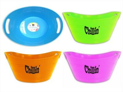 2 Bello 'Chillin' Design Ice Bucket in Bright Colours Outdoor Party BBQ Summer