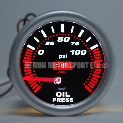 "52mm (2"") Smoked LED Oil Press Pressure Gauge - 0 - 100 psi (Universal)"