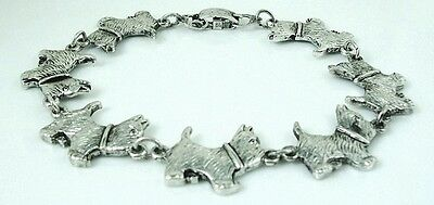 6.25 inch Cute Westie Dog Bracelet antique silver plated 15.87 cm