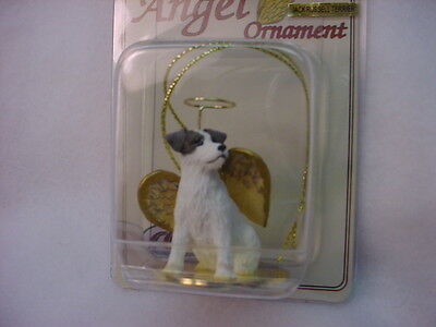 JACK RUSSELL brown white Rough Dog ANGEL Ornament Figurine NEW Christmas puppy