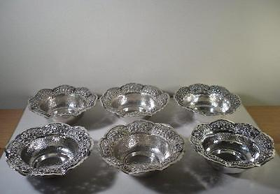 A Set of Six Oriental Style Silver Bowls : Singapore c1900