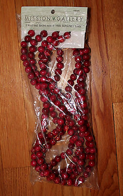 Wood Cranberry Red Burgundy Bead Garlands Tree Christmas Decor 9 FT sections