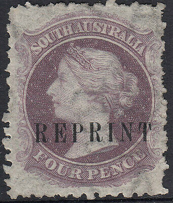 Stamp 1870's South Australia 4d purple perforated sideface REPRINT overprint MH