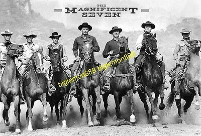 The Magnificent Seven (1960) On Horses American Western Cowboy Poster