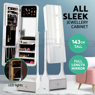 Mirror Jewellery Cabinet Makeup Storage Cabinet Jewelry Organiser Box LED Light