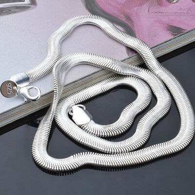4MM Men Women 925 Sterling Silver Plated Snake Pendant Necklace Chain Jewelry