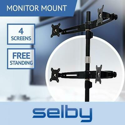 "15-24"" 8kg Quad LCD 4 Screen Desktop Monitor VESA Mount Freestanding Desk Stand"