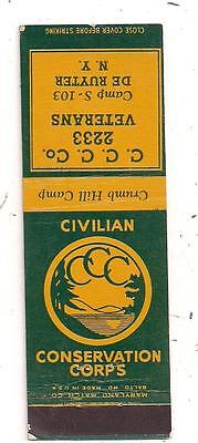 Civilian Conservation Corps C.C.C. Co. 2233 Veterans DeRuyter NY Matchcover 0525