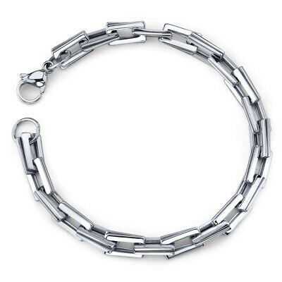 Smooth Style: Mens Stainless Steel Double Rectangular Link Bracelet