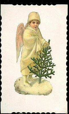 "5 3/4"" Mica Flecked Snow Angel with small Christmas Bush - Promotes Clothier"