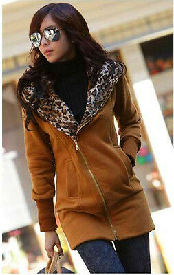 Autumn Long Outwear Slim Leopard Hoodie Sweatshirt Women Tops Casual Pullover