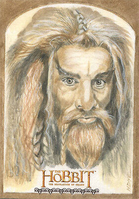 Hobbit Desolation of Smaug Fine Art Sketch Card by Marcia Dye of Fili