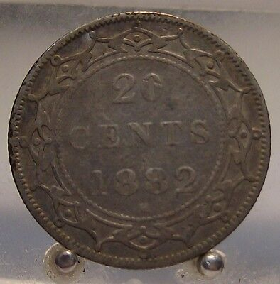 1882 H Canada Newfoundland Silver 20 Cents, Old Sterling Silver World Coin
